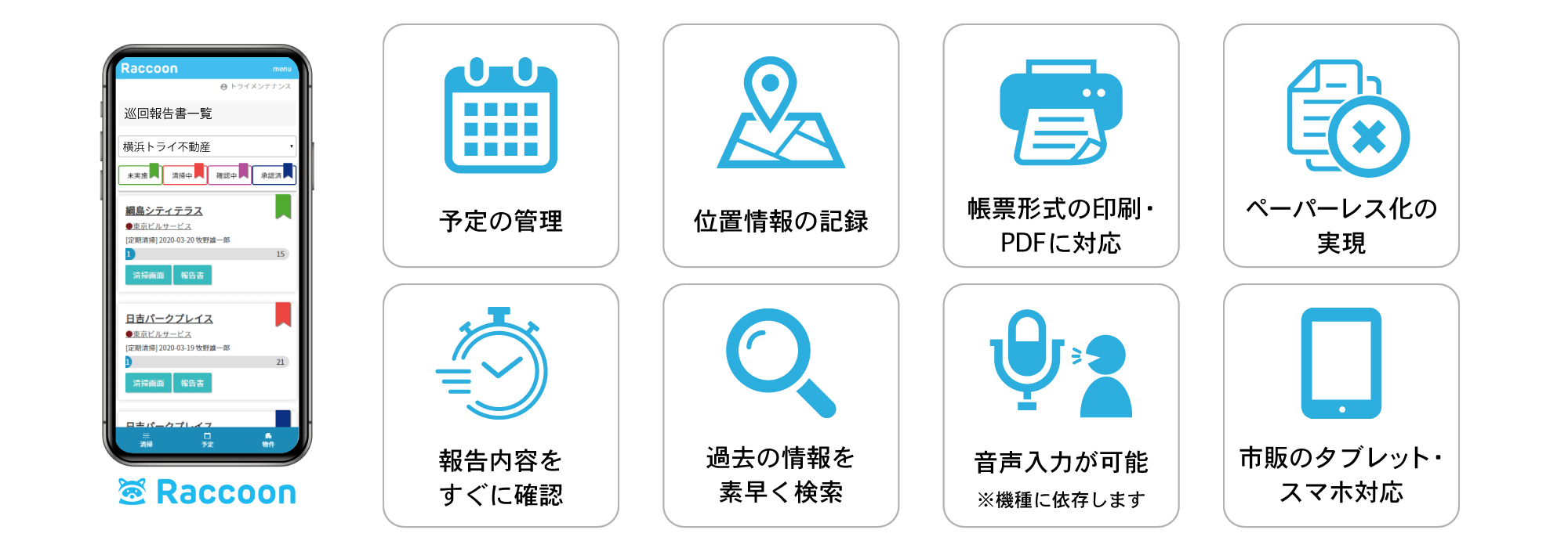 ラクーンの便利で多彩な機能が、あなたの報告業務をサポートします!